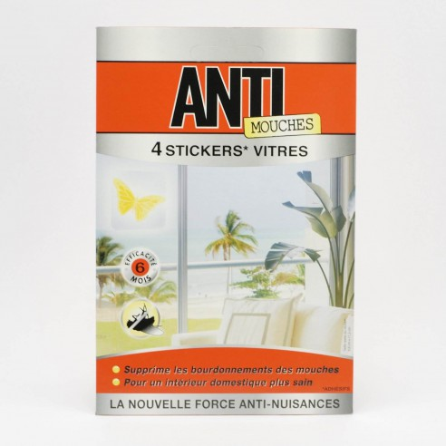 4 stickers insecticides vitres anti mouches. Black Bedroom Furniture Sets. Home Design Ideas