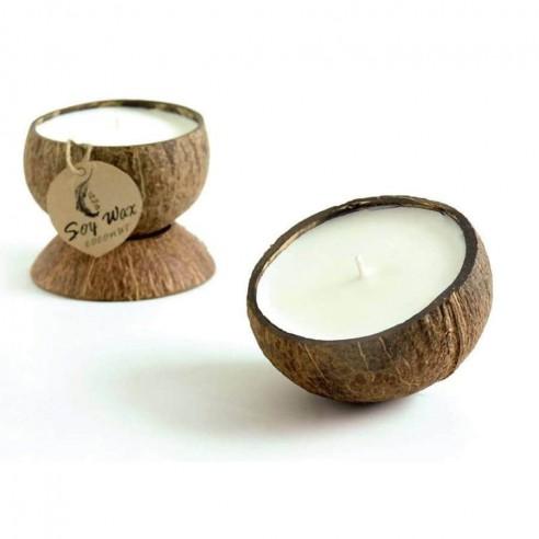 Bougie noix de coco à la cire de soja et huile essentielle de citronnelle bio