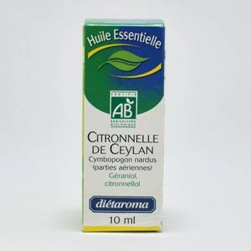 Huile essentielle Citronelle de Ceylan Bio 10ml - DIETAROMA