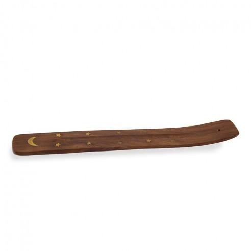 Porte encens en bois et laiton