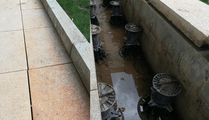 Des litres d'eau stagnante, voilà ce qui se cache sous les terrasses sur plot