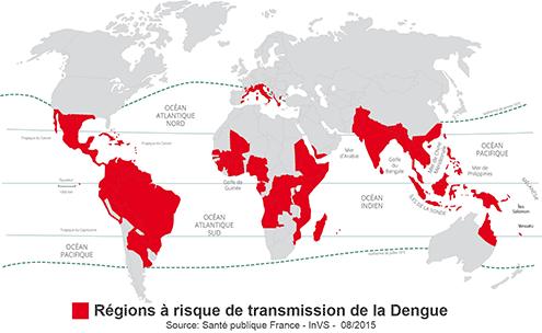 Régions à risque de transmission de la Dengue